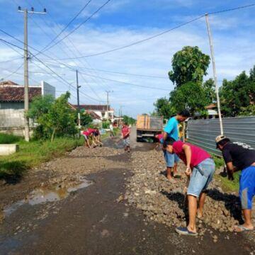 Jalan Berlubang, Warga Purwosari Babadan Inisiatif Perbaikan Secara Swadaya