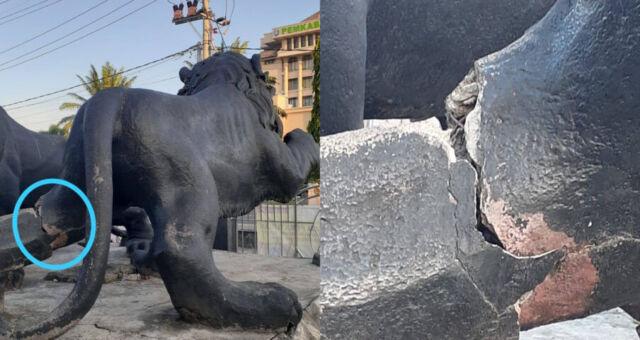 Mulai Tidak Terawat, Patung Singo Aloon-aloon Ada yang Patah
